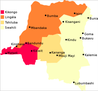 Map of the Democratic Republic of the Congo showing the regions where Kikongo, Lingala, Tshiluba, and Kiswahili are regional languages.
