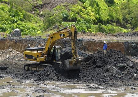 Excavator is used at the bottom of Congolese state mining company Gecamines' Kamfundwa open pit copper mine