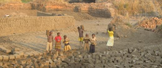 """Children, some """"younger than eight"""", working at a brick quarry in Bukama. Photo taken last week by our Observer."""