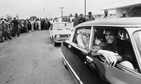 Crowds line the streets of Kinshasa as Muhammad Ali passes ahead of his 30 October 1974 heavyweight fight against world champion George Foreman. Photograph: AFP/Getty Images
