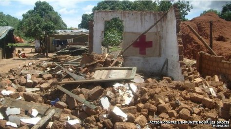 A medical centre was among the buildings demolished