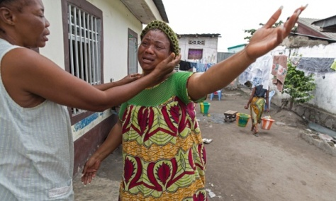 Hortense Basila, whose son Christian was shot dead on Monday by police while going to a shop during protests in Kinshasa against planned changes to the constitution. Photograph: Sean Smith/The Guardian