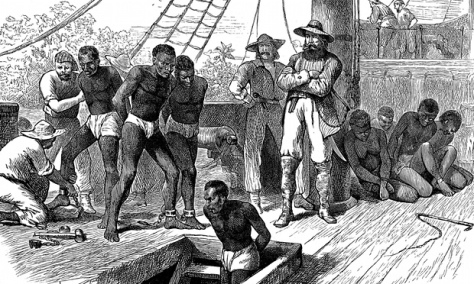 A print shows African captives being taken on board a slave ship. Photograph: Print Collector/Getty