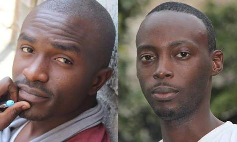 Two Congolese activists arrested during a pro-democracy youth workshop in Kinshasa, capital of the Democratic Republic of Congo, on March 15, 2015. They remain in detention one year later: Fred Bauma, youth activist (left) and Yves Makwambala, webmaster (right).