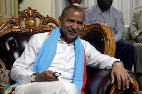 Democratic Republic of Congo's opposition Presidential candidate Moise Katumbi talks to his supporters after leaving the prosecutor's office in Lubumbashi
