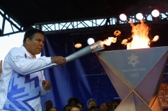 4 Dec 2001: Muhammad Ali lights the first torch to start the Olympic Torch Relay at Centennial Olympic Park in Atlanta, Georgia. DIGITAL IMAGE Mandatory Credit: Chris Stanford/pool/ALLSPORT