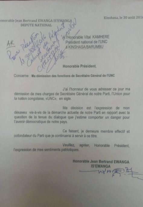 lettre de demission d'ewanga