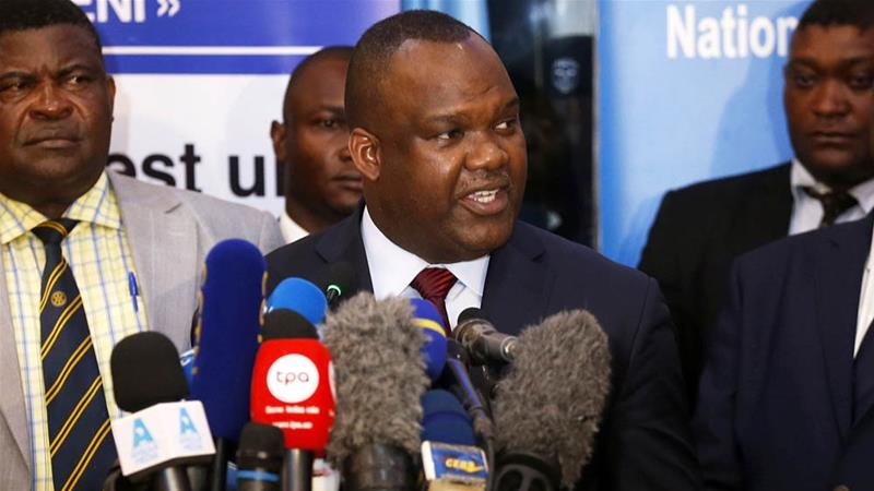 DRC's electoral commission chief Corneille Nangaa making the announcement in Kinshasa