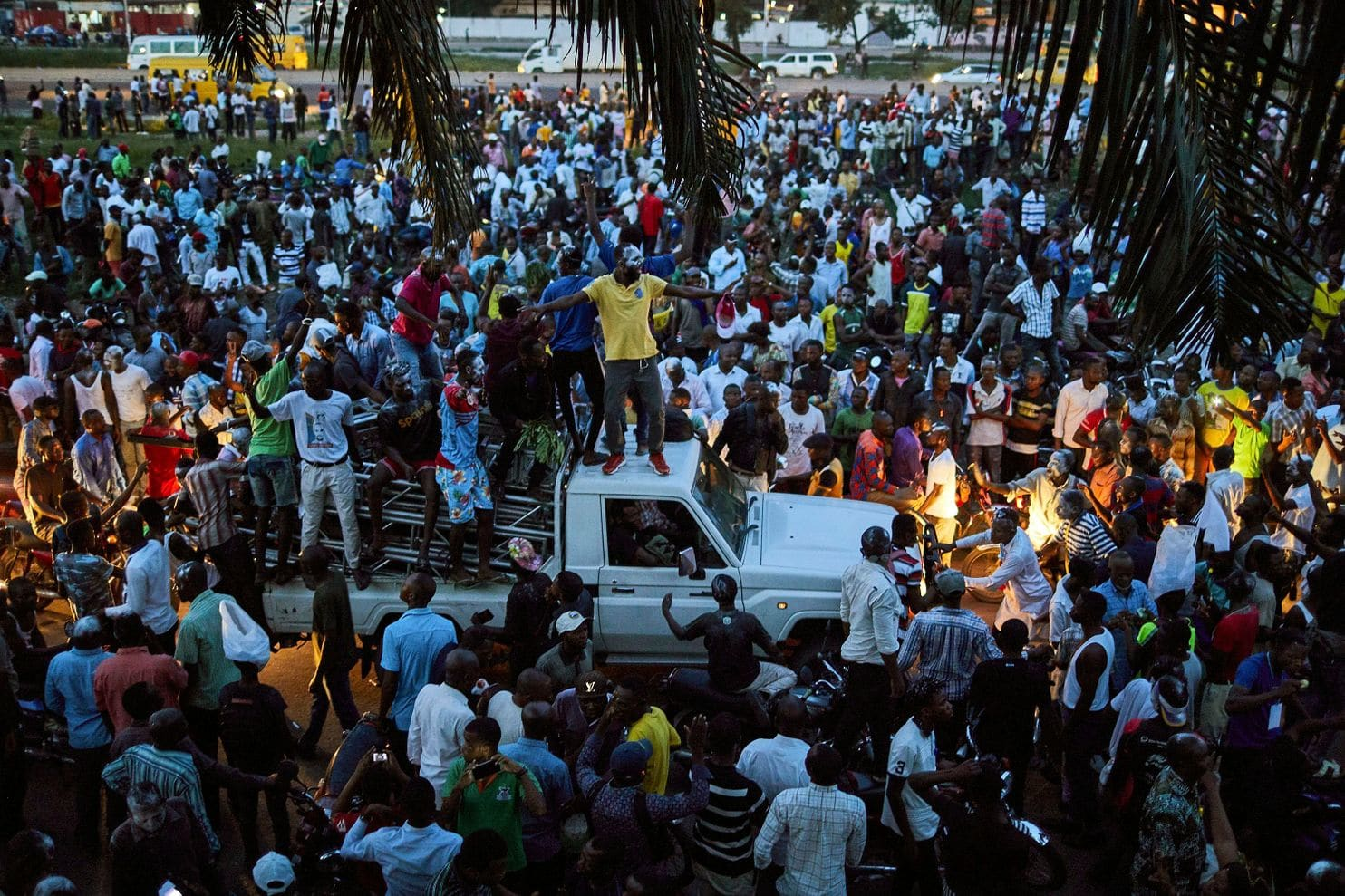 Supporters of Felix Tshisekedi, the leader of the Union for Democracy and Social Progress party, rally outside his headquarters in Kinshasa as they wait for the electoral commission to announce the results of the Dec. 30 election. (Hugh Kinsella Cunningham/EPA-EFE/Shutterstock)